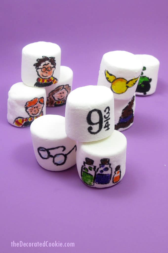 Harry Potter marshmallows -- Easy food art with food coloring pens