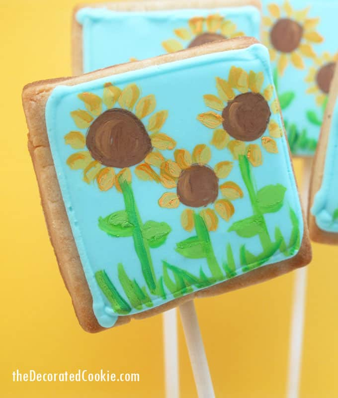 Painted sunflower cookies: How to paint on cookies with food coloring.