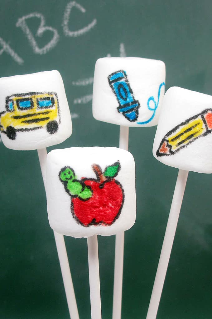 EASY back to school marshmallows on a stick using food coloring pens  #backtoschool #funfood #marshmallows