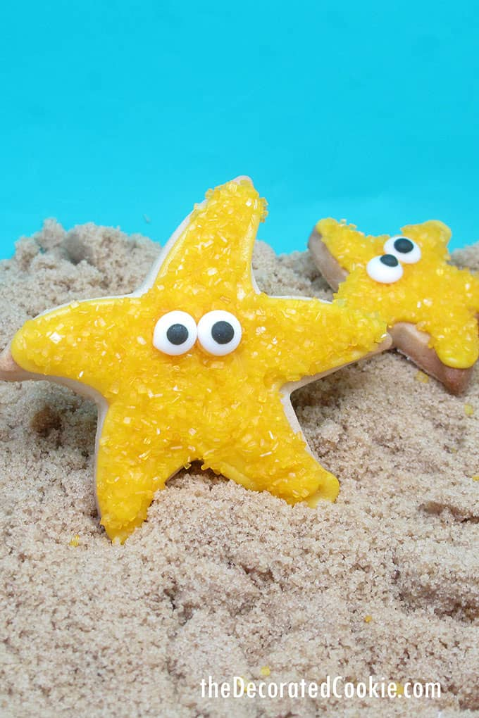 "starfish cookies on brown sugar ""sand"""