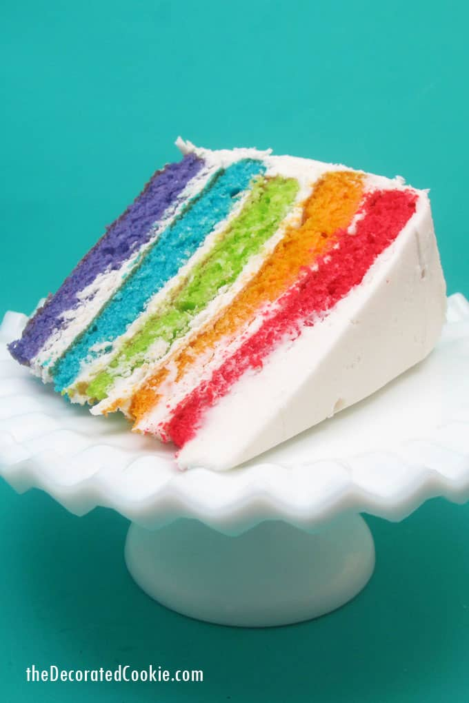 Rainbow cake and cupcakes with buttercream frosting for a unicorn or rainbow party -- the decorated cookie