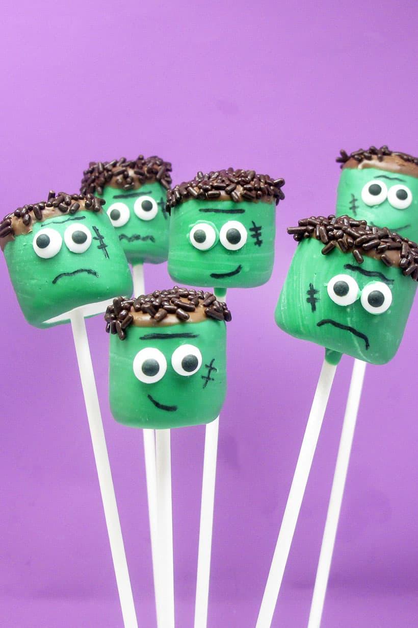 Frankenstein marshmallow pops for Halloween