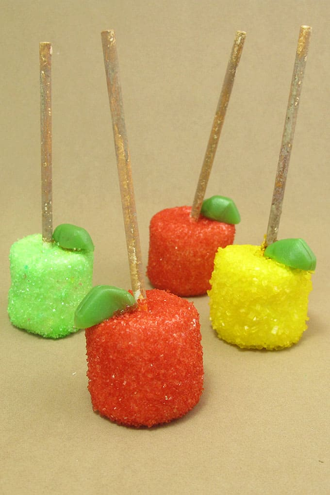 Fall marshmallow pops -- easy apple and pumpkin marshmallow pops. Food craft ideas for Fall themed parties, to sell at your Fall Fest, and more.