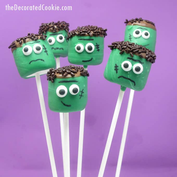 Frankenstein marshmallow pops for Halloween -- a fun food idea for your Halloween party