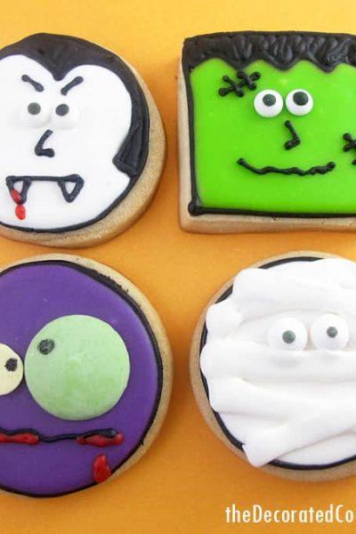 monster face cookies for Halloween -- Halloween dessert idea -- fun food for Halloween -- vampire, zombie, mummy, and Frankenstein cookies