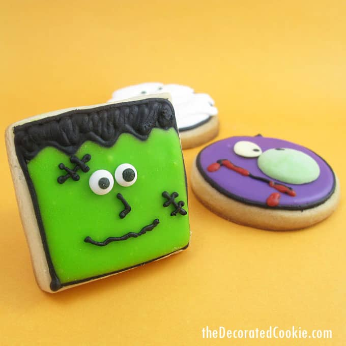 monster face cookies for Halloween -- Halloween dessert idea -- fun food for Halloween -- vampire, zombie, mummy, and Frankenstein cookies