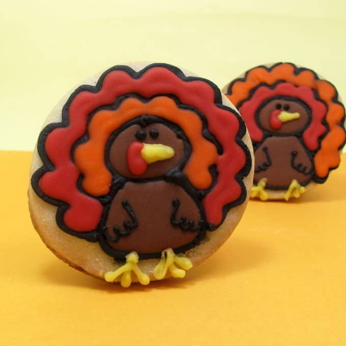 turkey cookies for Thanksgiving - the decorated cookie