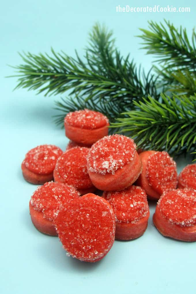 "How to make mini frosty ""cranberry"" cookies for a cute little Christmas cookie gift or treat."