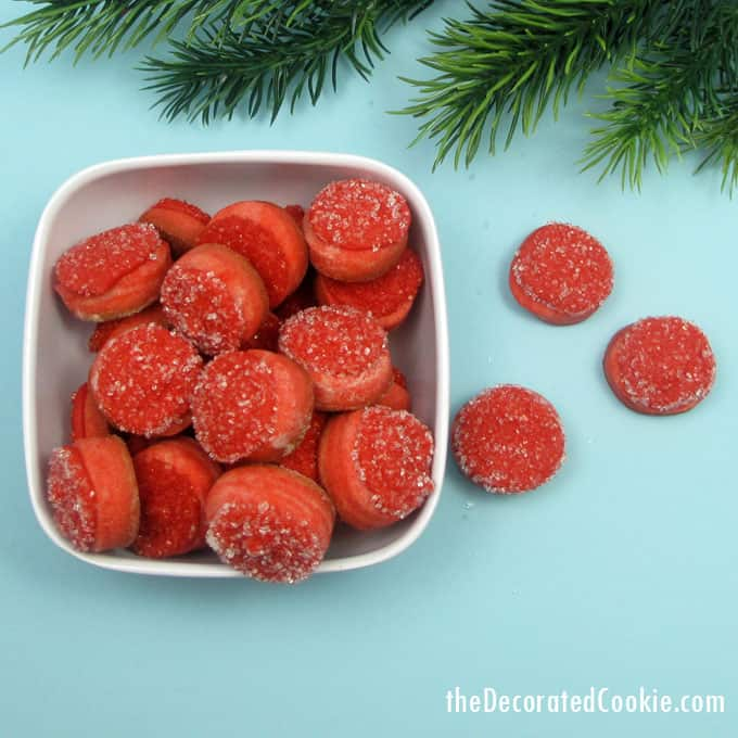 """How to make mini frosty """"cranberry"""" cookies for a cute little Christmas cookie gift or treat."""