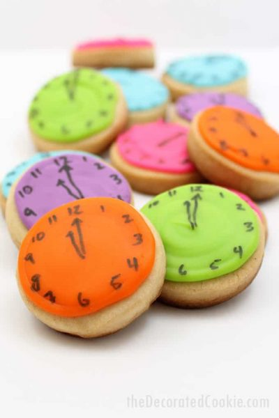 stacked New Year's Eve almost midnight clock cookies