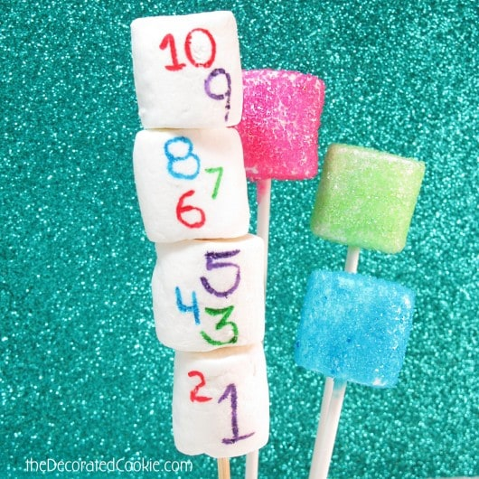 sparkly marshmallow pops for New year's eve