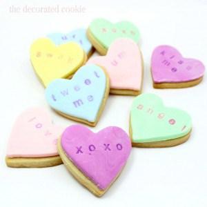 stamped conversation heart cookies