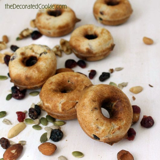 healthy, maple trail mix doughnuts