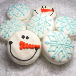 snowflake Oreos and snowman Oreos