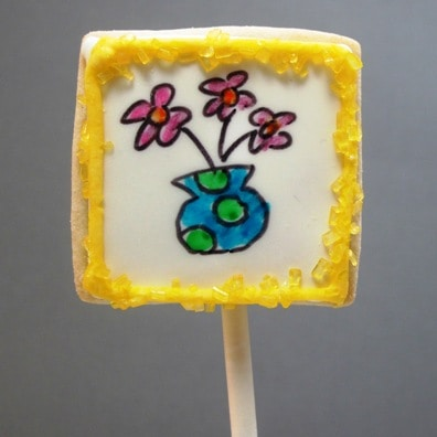 art gallery cookies - art cookies on a stick