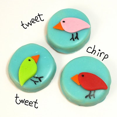 bird cookies with poured sugar icing