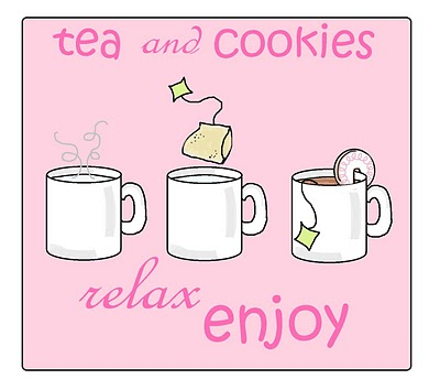 tea and cookies for Mother's Day, over-the-rim cookies