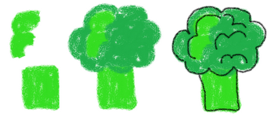 dinner cookies on a stick - how to draw broccoli