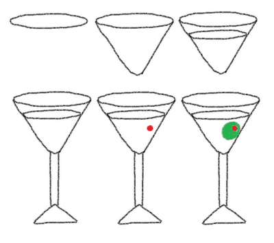 dinner cookies on a stick - how to draw a martini