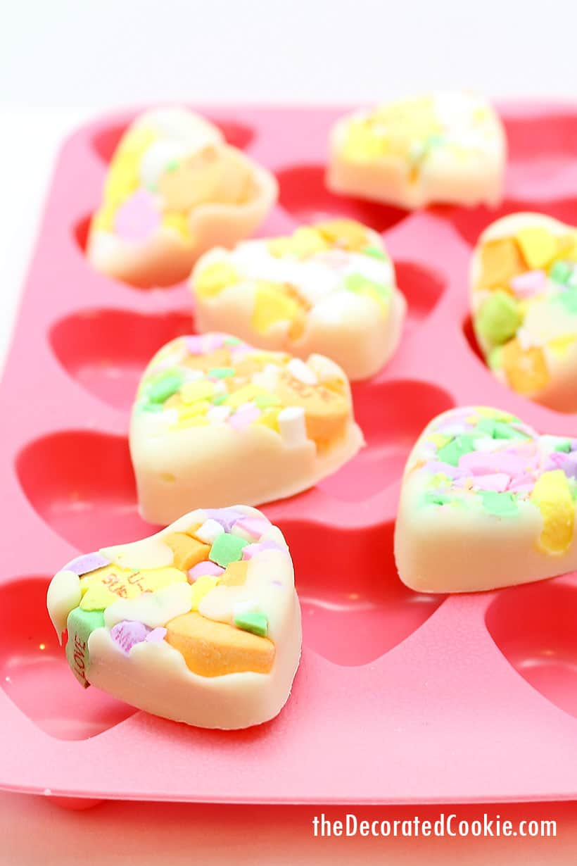 heart-shaped conversation heart chocolate bark for Valentine's Day