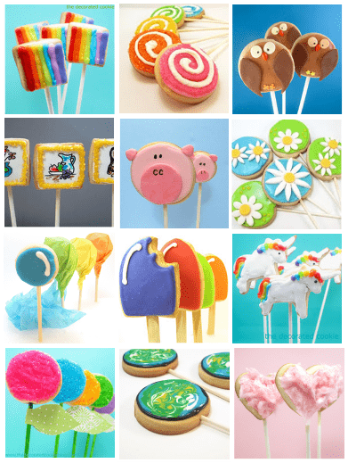 decorated cookies on a stick