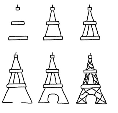 Bastille Day cookies - how to draw the Eiffel Tower