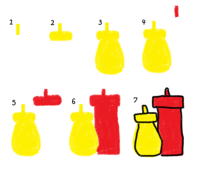 bbq marshmallows food art - the decorated cookie - how to draw ketchup and mustard