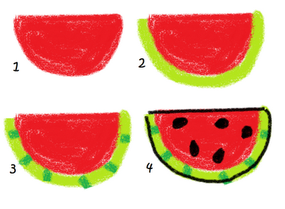 bbq marshmallows food art - how to draw watermelon