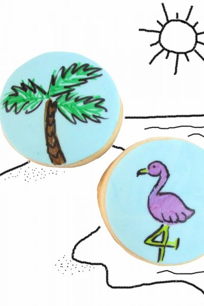 palm tree and flamingo cookies - the decorated cookie