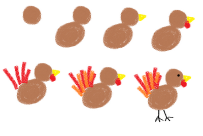 Thanksgiving marshmallows - how to draw a turkey
