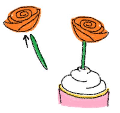 felt flower cupcake toppers