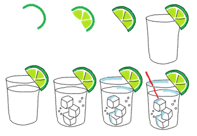 gin and tonic cookies - how to draw a gin and tonic