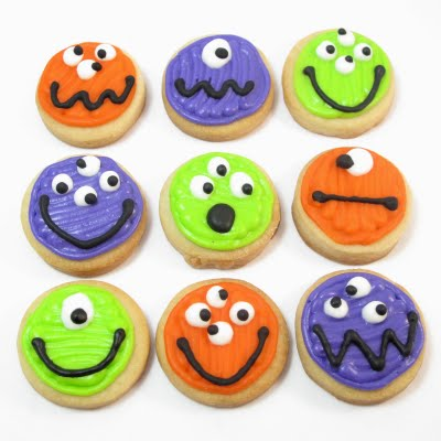 mini monster cookies for Halloween