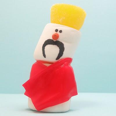 mustache marshmallow snowmen