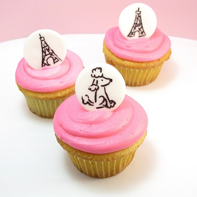 Paris cupcakes -- fondant cupcake toppers with food coloring pens