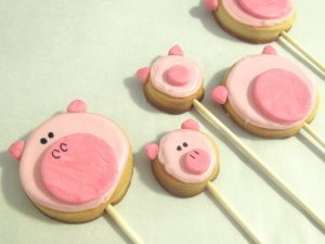 pig cookies on a stick