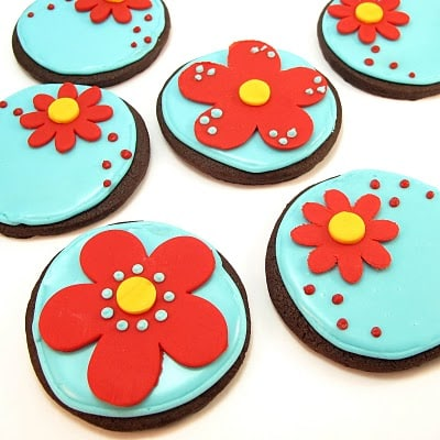 red and aqua chocolate flower cookies