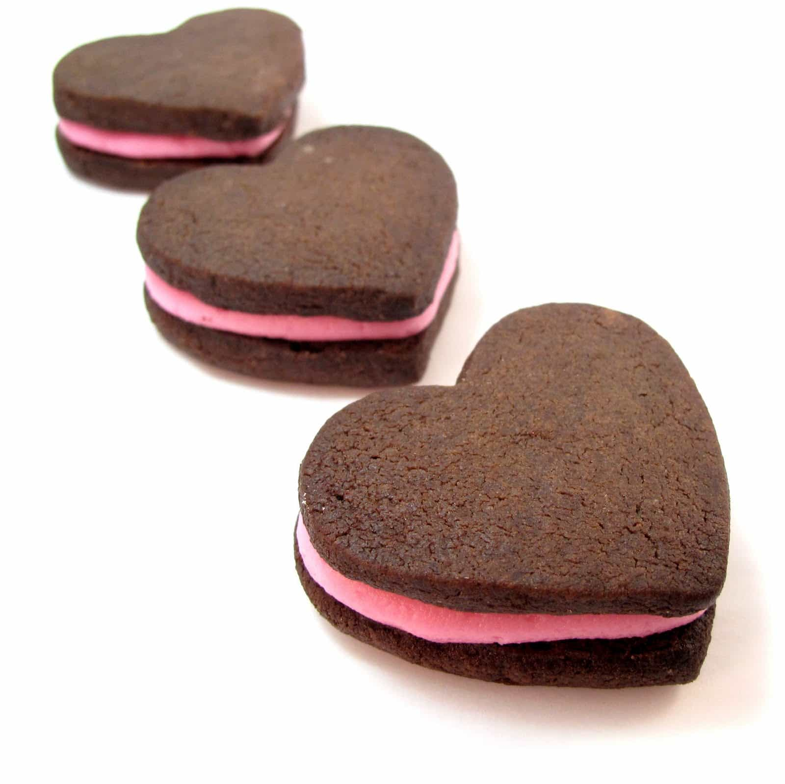 chocolate heart sandwich cookies for Valentine's Day