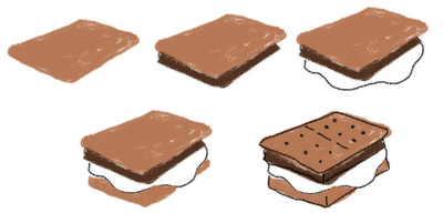 s'mores marshmallow art - how to draw s'mores