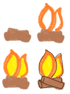 s'mores marshmallow art how to draw fire