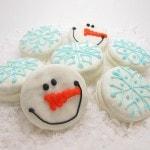 snowflake and snowman oreo cookies