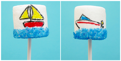 sand, surf and lawn summer marshmallows (and how to dye your own sprinkles)