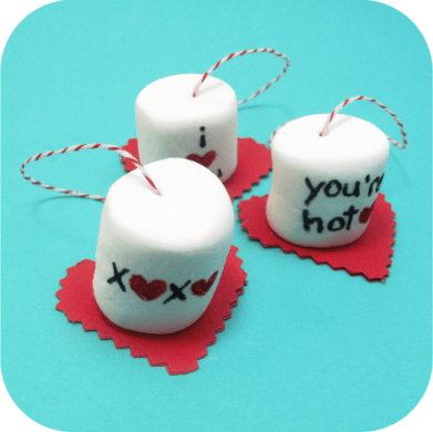 marshmallows on a string - marshmallows to dunk in hot cocoa for Valentine's Day