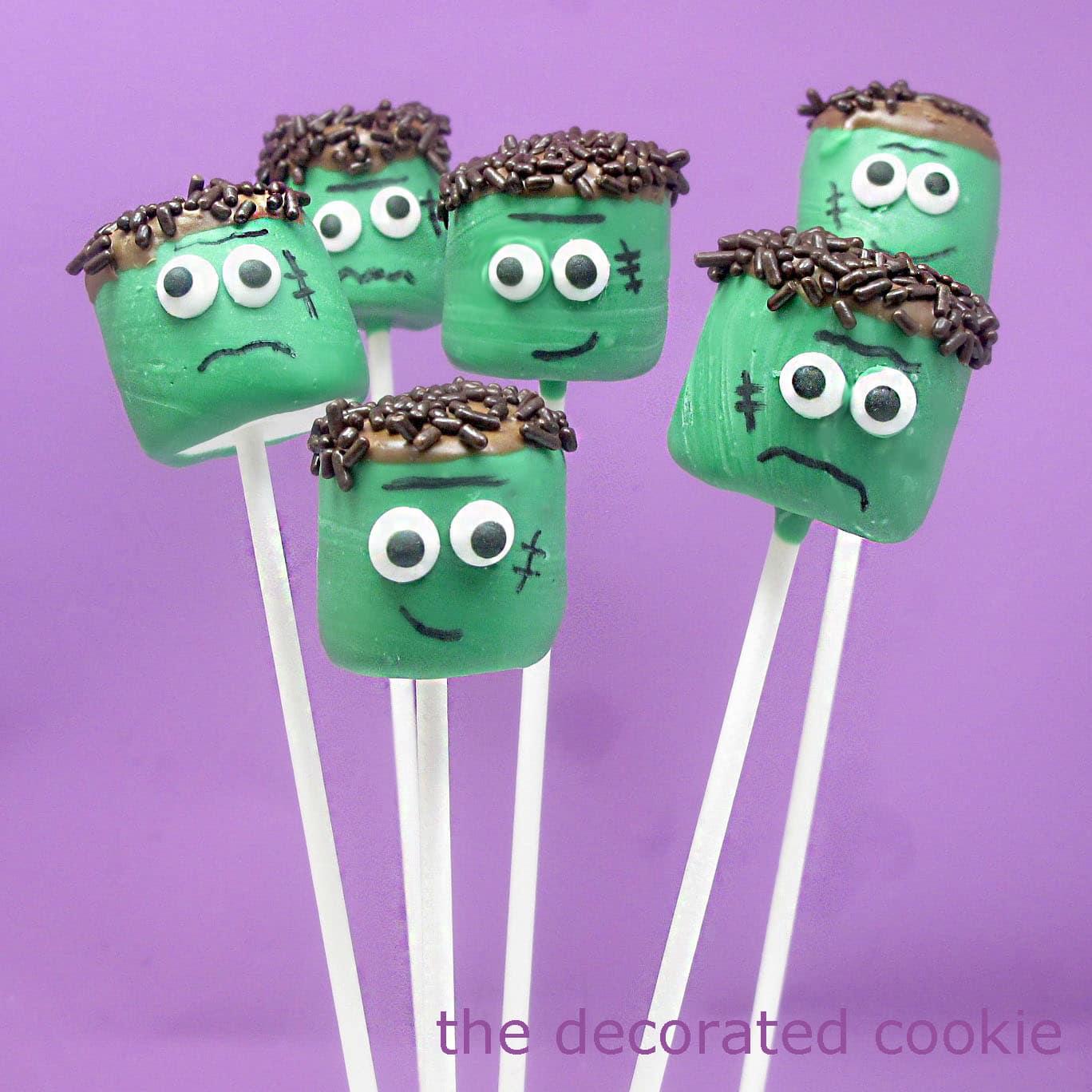 Frankenstein marshmallow pops for halloween fun food craft for Halloween craft decorations for adults