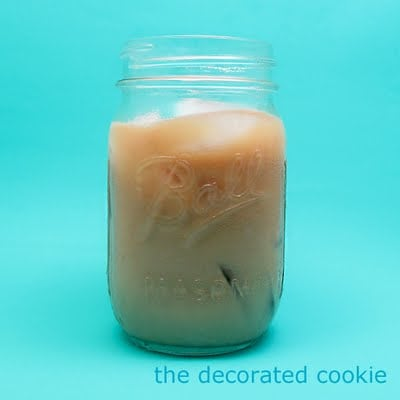 iced coffee and coffee bean cookies