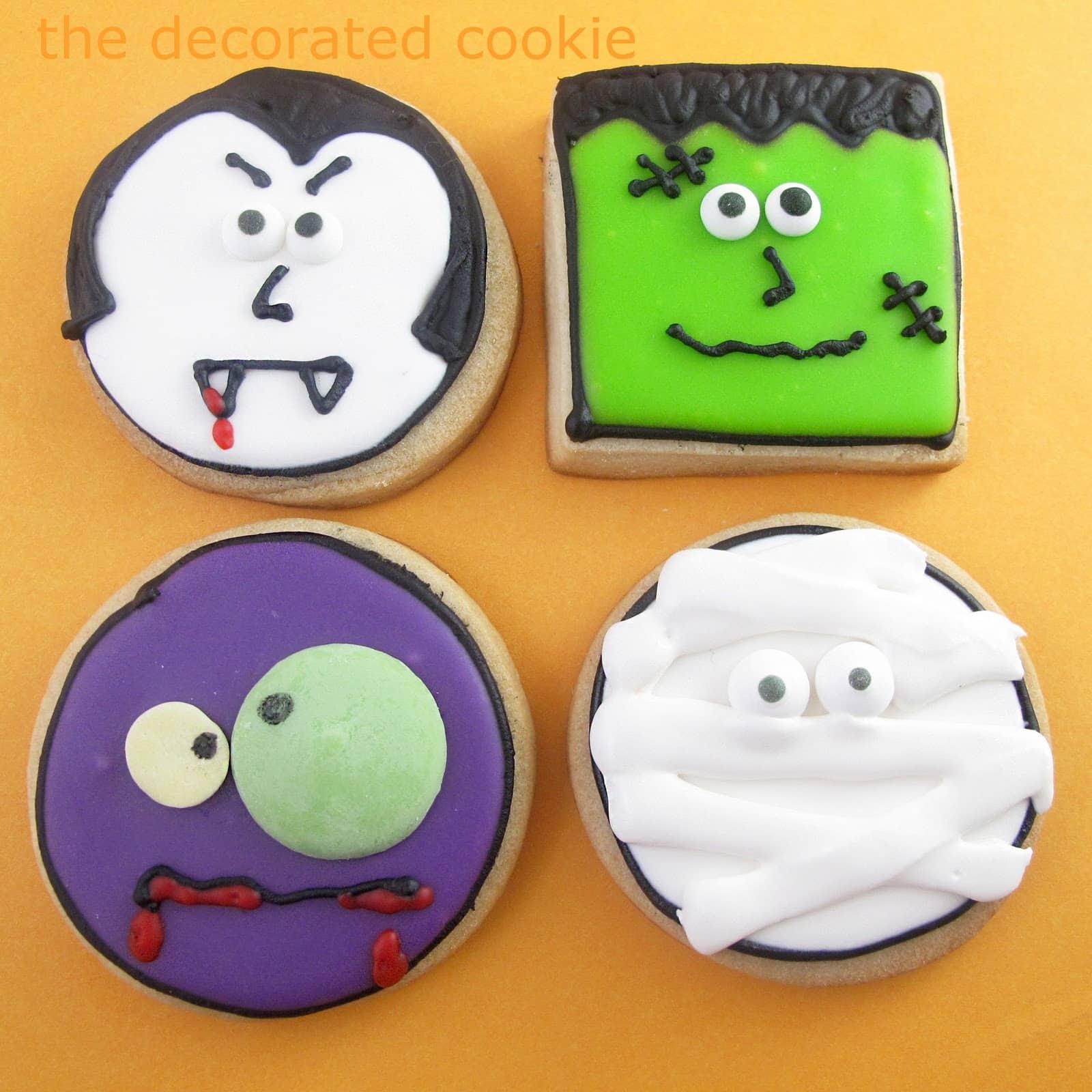 Monster Halloween Cookies: Monster Face Cookies For Halloween -- Halloween Dessert Idea