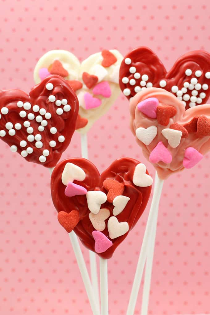 candy hearts: Kid-friendly chocolate candy hearts on sticks for Valentine's Day.