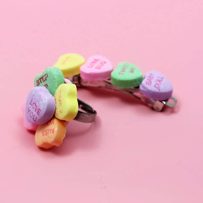 How to make conversation heart jewelry: Valentine's Day crafts for kids. Make conversation heart rings and conversation heart barrettes.