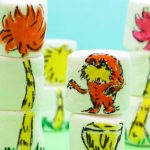 Dr. Seuss marshmallow art with food coloring pens.