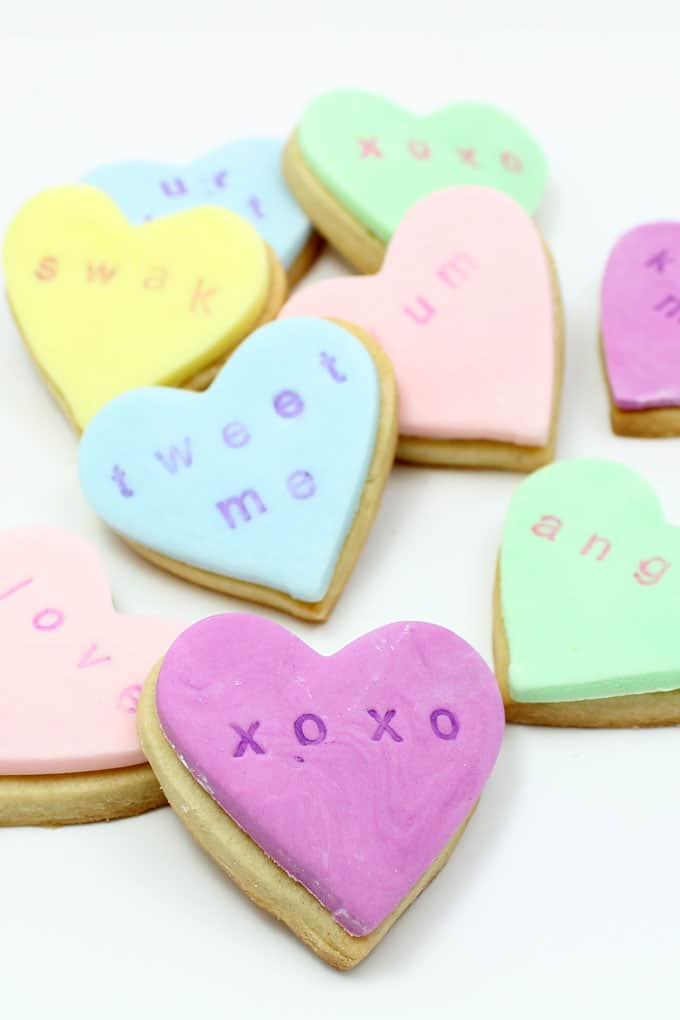 Stamped conversation heart cookies, a Valentine's Day food craft idea from my book, Sugarlicious.